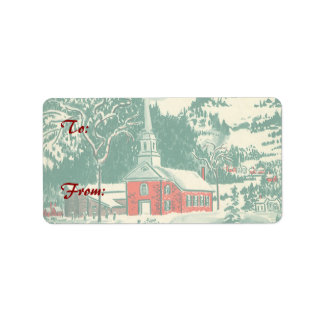 Vintage Christmas, a Church Snowscape in Winter Label