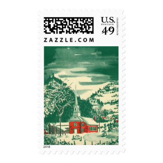 Vintage Christmas, a Church Snowscape in Winter Stamp