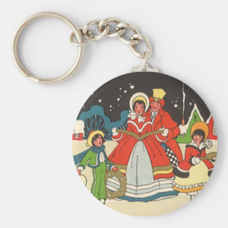 Vintage Christmas, a Family Singing Music Carols Basic Round Button Keychain