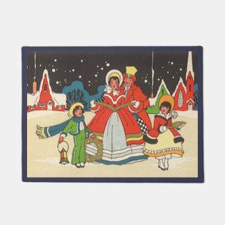 Vintage Christmas, a Family Singing Music Carols Doormat