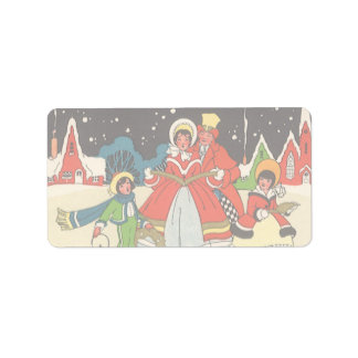 Vintage Christmas, a Family Singing Music Carols Address Label