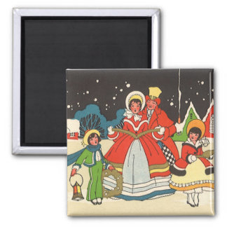 Vintage Christmas, a Family Singing Music Carols Magnet