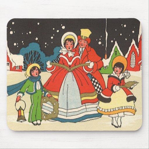 Vintage Christmas, a Family Singing Music Carols Mouse Pad