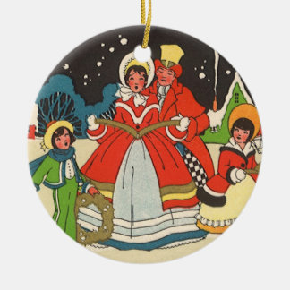 Vintage Christmas, a Family Singing Music Carols Double-Sided Ceramic Round Christmas Ornament