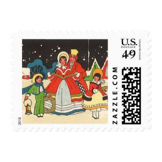 Vintage Christmas, a Family Singing Music Carols Postage Stamp