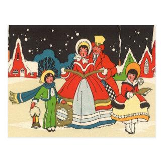 Vintage Christmas, a Family Singing Music Carols Postcard