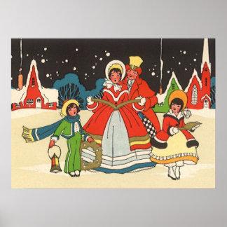Vintage Christmas, a Family Singing Music Carols Poster