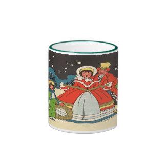 Vintage Christmas, a Family Singing Music Carols Ringer Coffee Mug