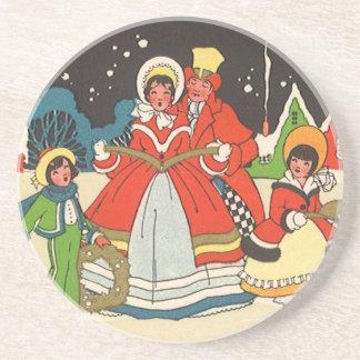 Vintage Christmas, a Family Singing Music Carols Sandstone Coaster