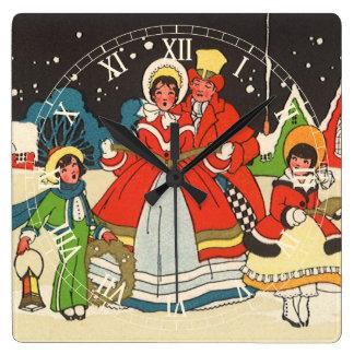 Vintage Christmas, a Family Singing Music Carols Square Wall Clock