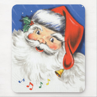 Vintage Christmas, a Jolly Santa Claus w Music Mouse Pad