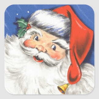 Vintage Christmas, a Jolly Santa Claus w Music Square Sticker