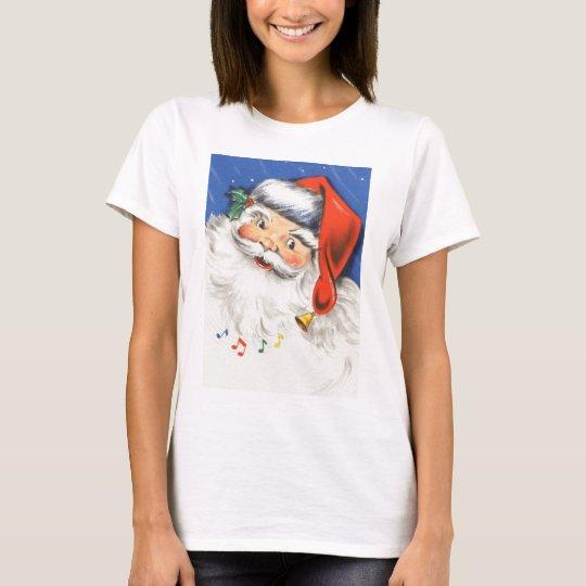 Vintage Christmas, a Jolly Santa Claus w Music T-Shirt