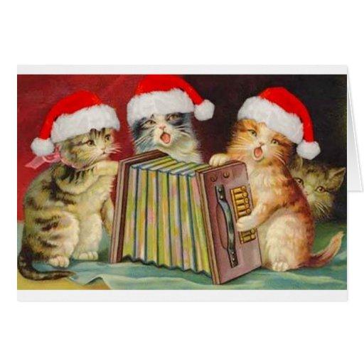 Vintage Christmas Accordian Cats Greeting...