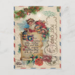 "Vintage Christmas Airmail Postcard Santa Claus<br><div class=""desc"">Vintage Christmas Airmail Postcard Santa Claus delivering gifts.</div>"