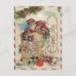 "Vintage Christmas Airmail Postcard Santa Claus<br><div class=""desc"">Vintage Christmas Airmail Postcard Santa Claus delivering gifts.</div>"