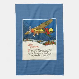 Vintage Christmas Airplane Hand Towel