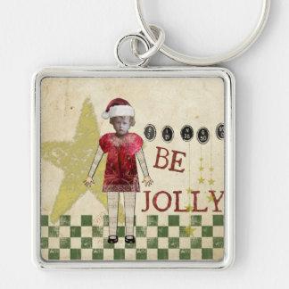 Vintage Christmas Altered Art Christmas Keychain