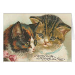 Vintage Christmas and New Year Cat Greeting Card