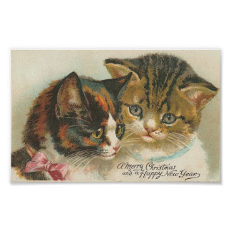 Vintage Christmas and New Year Cats Poster
