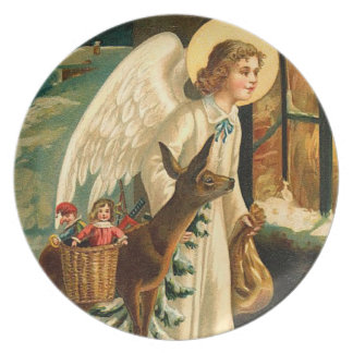 Vintage Christmas Angel and Deer Melamine Plate