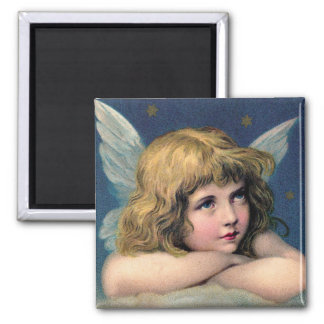 Vintage Christmas Angel and Gold Stars 2 Inch Square Magnet