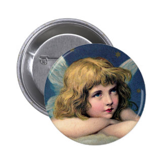 Vintage Christmas Angel and Gold Stars Pinback Button