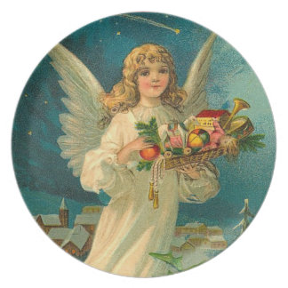 Vintage Christmas Angel and Toys Dinner Plate