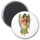 Vintage Christmas Angel, Angelic Victorian Die Cut 2 Inch Round Magnet