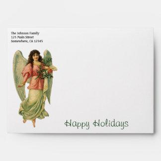 Vintage Christmas Angel, Angelic Victorian Die Cut Envelope