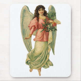 Vintage Christmas Angel, Angelic Victorian Die Cut Mouse Pad