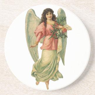 Vintage Christmas Angel, Angelic Victorian Die Cut Sandstone Coaster