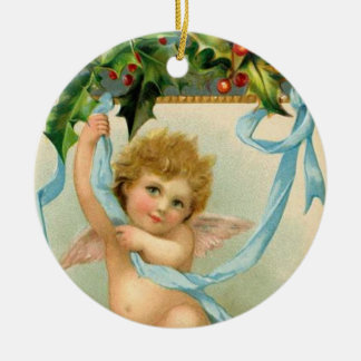 Vintage Christmas Angel Art Ceramic Ornament