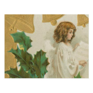 Vintage Christmas Angel, Bells and Holly Postcards