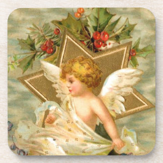 Vintage Christmas Angel Cherub Gold Star Holly Coaster
