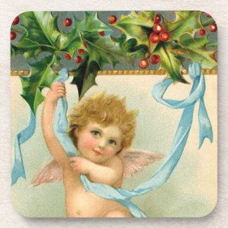 Vintage Christmas Angel Cherub Holly Ribbon Coaster
