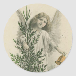 Vintage Christmas Angel Classic Round Sticker
