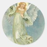 Vintage Christmas Angel Classic Round Sticker