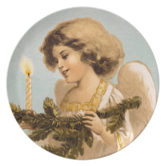 Vintage Christmas Angel Dinner Plate