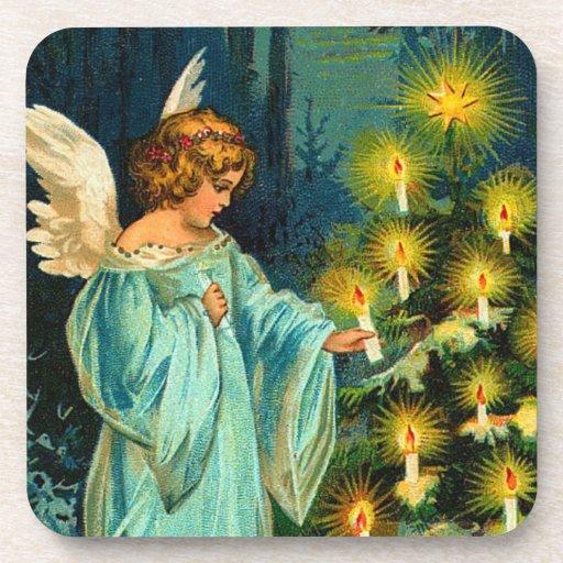 Vintage Christmas Angel Drink Coaster