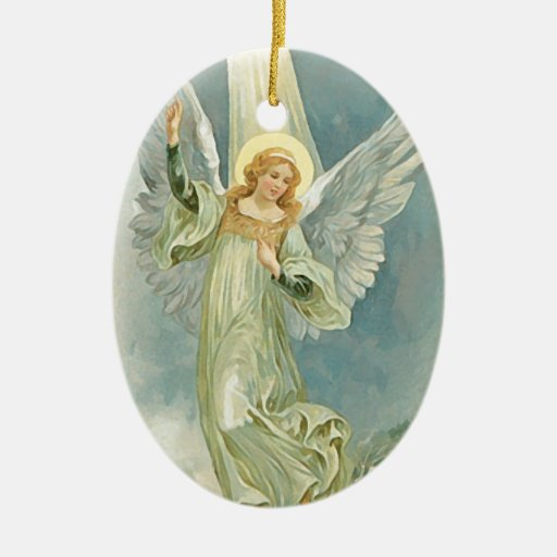Vintage Christmas Angel Fine Art Double-Sided Oval Ceramic Christmas Ornament