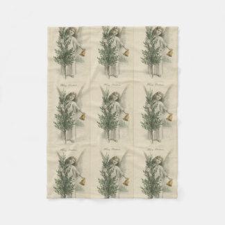 Vintage Christmas Angel Fleece Blanket