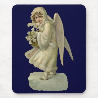 Vintage Christmas Angel Flowers, Victorian Die Cut Mouse Pad