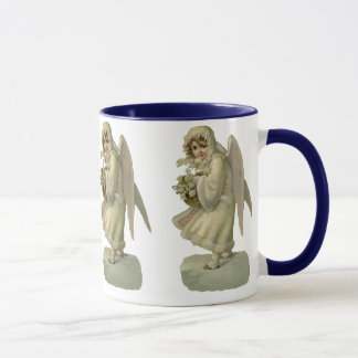 Vintage Christmas Angel Flowers, Victorian Die Cut Mug