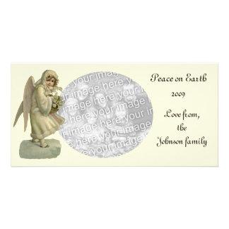 Vintage Christmas Angel Flowers, Victorian Die Cut Photo Card