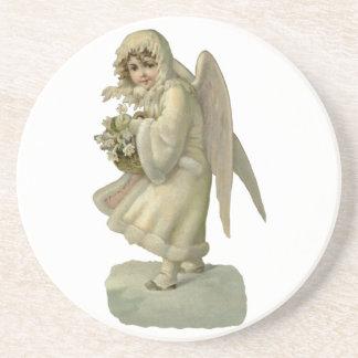 Vintage Christmas Angel Flowers, Victorian Die Cut Sandstone Coaster