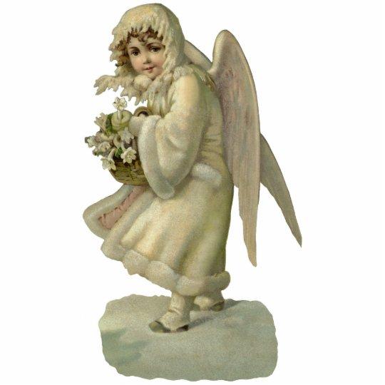 Vintage Christmas Angel Flowers, Victorian Die Cut Statuette