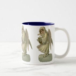 Vintage Christmas Angel Flowers, Victorian Die Cut Two-Tone Coffee Mug