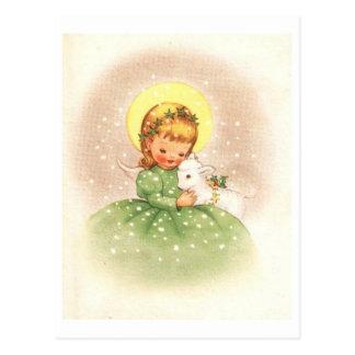 Vintage Christmas Angel Girl With Baby Lamb Postcard