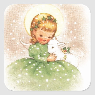 Vintage Christmas Angel Girl With Baby Lamb Square Sticker